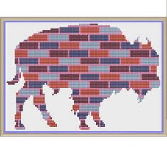 Bricked Buffalo in Blue Burgundy Burnt-Orange and Bubble-Gum - Counted Cross Stitch Pattern by HornswoggleStore, $5.00 (Nursery, Kids, Children, Animal, Baby)