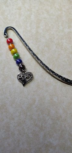 Handmade Rainbow Filigree Heart Bookmark - Thinking of You / Letterbox Gift Glass Ceramic, Ceramic Beads, Heart Bookmark, Letterbox Gifts, Rainbow Theme, Childrens Gifts, Organza Bags, Northern Ireland, Little Gifts
