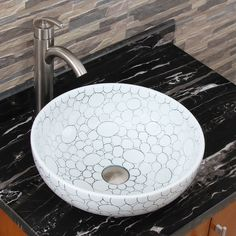 Guest bath. ELIMAX'S 2018 Cobblestone Pattern Porcelain Ceramic Bathroom Vessel Sink - Overstock Shopping - Great Deals on Bathroom Sinks
