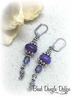 Handmade Purple Swirl Beaded Dangle Earrings – Bead Dangle Design