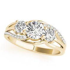 Three Stone Swirl Anniversary Ring in Yellow Gold