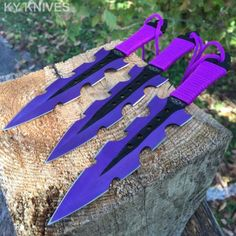 3Pc-7-5-Ninja-Tactical-Combat-PURPLE-Kunai-Throwing-Knife-Set-w-Sheath-Hunting
