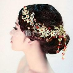 Fashion+28.5cm+Women's+Golden+Alloy+Glass+Hair+Claws(Golden)+(1Pcs)+-+USD+$20.99