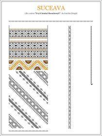 Semne Cusute: model de ie din BUCOVINA, Suceava Embroidery Sampler, Folk Embroidery, Modern Embroidery, Embroidery Patterns, Cross Stitch Patterns, Machine Embroidery, Knitting Patterns, Beading Patterns, Color Patterns