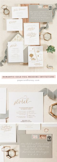 Romantic and simple gold foil wedding invitations by Paper & Honey (www.paperandhoney.com) \/ heirloom quality wedding stationery suites you'll show your grandchildren \/ as seen on Oh So Beautiful Paper \/ photo by Andrea Pesce Photography (https://ift.tt/1AC0D4R)