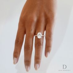 The Luna engagement ring with an oval cut diamond, exclusively from Jean Dousset.