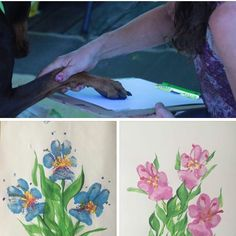 Dog paw floral painting... Not my photos and not my original idea but love this!!! I'm doing this with Tobey tonight!