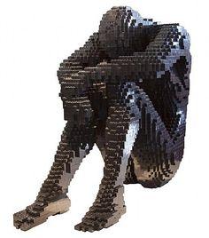 Lego Art - by Nathan Sawaya Lego Sculptures, Art Sculpture, Cool Lego, Awesome Lego, Art Corner, Lego Worlds, Lego Design, Unusual Art, Lego Creations