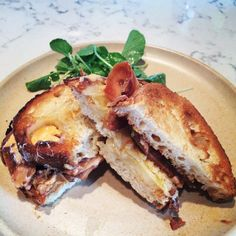Pig's cheek with beer & mustard béchamel cheese on toast