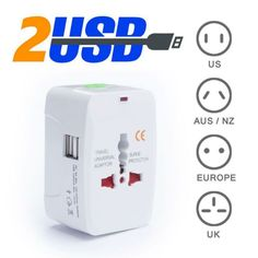 Universal adapter with 2 USB plug - for 150 country above, Electronics, Computer Parts & Accessories on Carousell