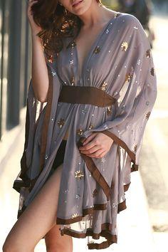 Plunging Neck Kimono Sleeve Contrasting Dress PURPLE: Bohemian Dresses   ZAFUL