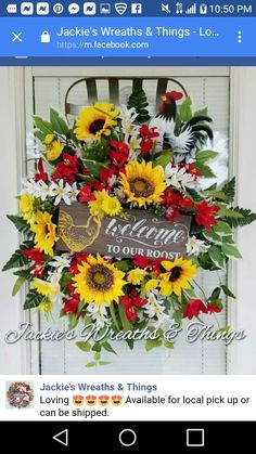 Summer Door Decorations, Summer Door Wreaths, Holiday Wreaths, Mesh Wreaths, Spring Wreaths, Tobacco Basket Decor, Shell Wreath, Country Wreaths, Rooster Decor