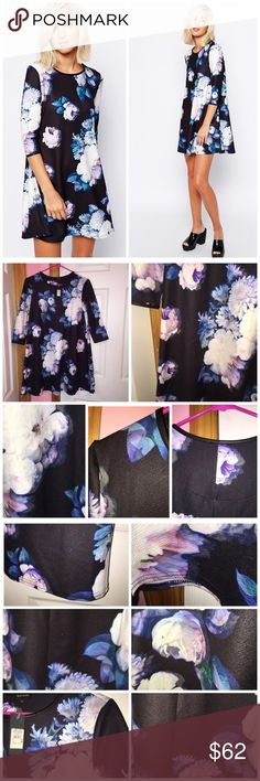 """Floral Print Swing Dress River Island dress from ASOS. Tag shows 10 BUT that's UK sizing so the dress is a US size 6. Woven fabric with a crew neckline. Gentle swing pleats. All over floral print design. Please look at the photos I took for actual floral placement on the dress. Regular fit. Approx 31"""" in length. 96% polyester and 4% elastane. Stock photos are from ASOS. ❌NO TRADES❌ River Island Dresses"""