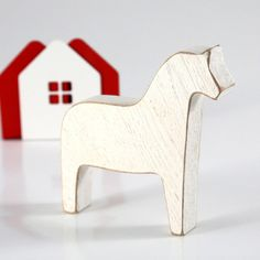 Scandinavian Dala horse wooden toy decor for Christmas, white by DesignAtelierArticle
