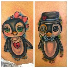 Penguin couple tats