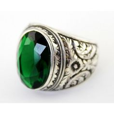 Sterling Silver 925 men ring ,emerald lab. stone
