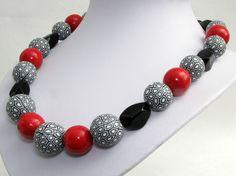 Organic necklace, big beads, polymer clay, fimo,from susan polymer handgefertigte Kette aus extra großen von polymerdesign