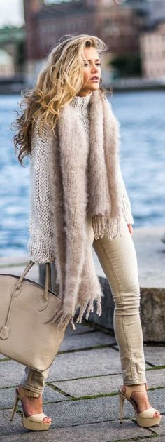 #fall #fashion / monochrome knit layers
