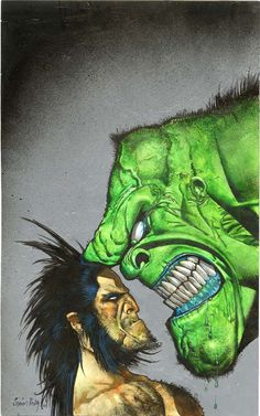 Wolverine / Hulk by Simon Bisley