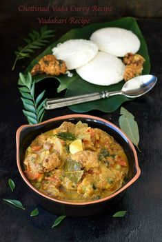 Chettinad Vada Curry Recipe is a special breakfast side dish where small masala vadas are dunked and cooked in a flavourful onion tomato masala gravy. It is served with idli, set dosa, appam, idiyappam etc. Curry Recipes, Soup Recipes, Dinner Recipes, Vegetarian Pasta Dishes, Vegetarian Recipes, Easy Indian Recipes, Ethnic Recipes, East Indian Food, Indian Foods