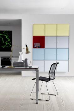 Soft pastel with a bright red contrast. #montana #furniture #danish #design #furniture #storage #interior #indretning #inredning #einrichtung  #pastels #blue #yellow #white