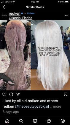 Redken Toner, Redken Hair Color, Hair Extensions Tutorial, Redken Hair Products, Hair Color Formulas, Colored Hair Tips, Redken Shades Eq, Blonde Hair Looks, Silver Grey Hair