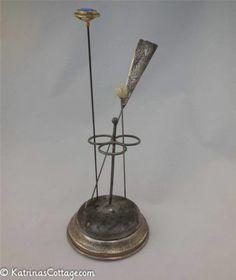 Victorian Herbst & Wassall Hat Pin Stand w/Three Original Hat Pins - c1909