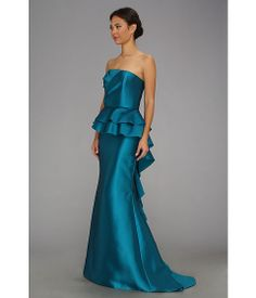 Badgley Mischka No Belt Ruffle Gown Aqua Marine - Zappos.com Free Shipping BOTH Ways blue brides maid