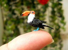 Red Billed Toucan - Micro Amigurumi Miniature Crochet Bird Stuffed Animal - Made To Order