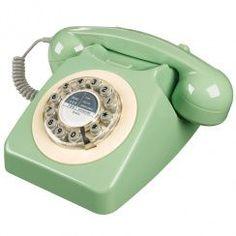 Vintage retro 60s 70s GPO dialling cord telephone Skandi sage chic landline gift