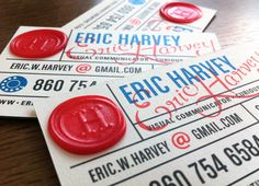 Business Cards, Self-Promotion by Eric Harvey, via Behance High Quality Business Cards, Cool Business Cards, Custom Business Cards, Business Card Design, Letterpress Business Cards, Business Branding, Business Labels, Typography Design, Branding Design
