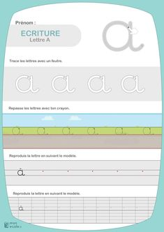 Fiches d'apprentissage de l'écriture cursive | Mon école Teaching Cursive, Cursive Handwriting, Writing Cursive, Kids Education, Writing A Book, Worksheets, School, Grande Section, Jade