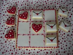 Valentine Tic Tac Toe game cookies