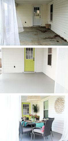 Darnetha Myers of Chippa Sunshine had a lot of work to do to make her back porch ready for entertaining. She shows all the steps in her patio makeover, from clean up and painting the cement, to setting up her patio dining set and decorating. It's on The Home Dedpot Blog.    @chippasunshine