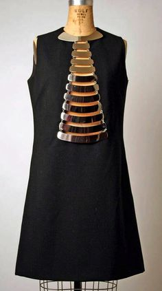 pierre cardin. i would love to imitate this shift dress with it's own jewelry.