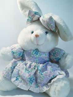 white rabbit bunny in a floral dress & bow plushy stuffed animal, used in VGC #Unbranded Dress With Bow, Plushies, Rabbit, Bunny, Teddy Bear, Bows, Floral, Animals, Ebay