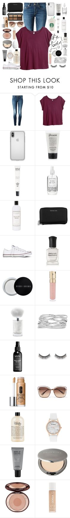 """Be Lovely!"" by annelieseoh ❤ liked on Polyvore featuring Dondup, H&M, Speck, philosophy, MAKE UP FOR EVER, Herbivore, The Laundress, Michael Kors, Converse and Deborah Lippmann"
