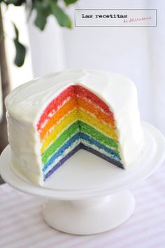 Las recetitas (de Mirasens): Rainbow cake o tarta arcoiris...Thank you Nana for translating this for me! :)