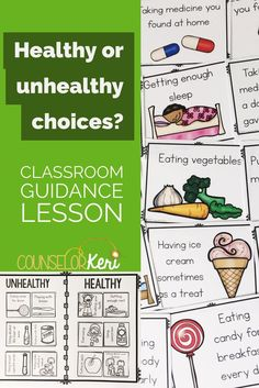 Healthy Choices Classroom Guidance Lesson for Early Elementary Counseling Elementary School Counselor, School Counseling, Primary School, Group Counseling, Health Lesson Plans, Health Lessons, Counseling Activities, Classroom Activities, Learning Activities
