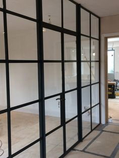 Replace the solid divide between front and back office with Internal Crittall Screen? Internal Glazed Doors, Internal Sliding Doors, Steel Windows, Steel Doors, Crittal Doors, Home Gym Basement, Glass Partition Wall, House Windows, Ceiling Windows
