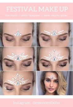 Lidschatten auftragen Anleitungen Festival make-up, When searching for the perfect set of Festival Makeup Glitter, Glitter Makeup, Boho Festival Makeup, Glitter Hair, Glitter Shoes, Festival Fashion, Maquillage Halloween, Halloween Makeup, Coachella Make-up