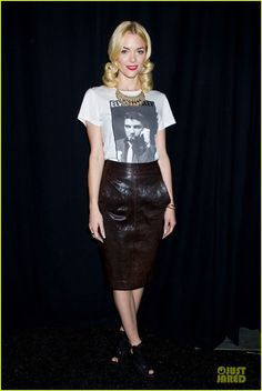 Jaime King wearing Rebecca Minkoff | graphic tee tucked into pencil skirt, statement necklace