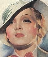 1930s makeup guide  including example face, rouge, eyeshadow, lipstick, and nail polish colors