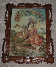 Stunning 27 x 21 Antique Needlepoint Panel Young Girl Deer Rosewood Framed Vintage Cross Stitches, Antique Prints, Needlepoint, Needlework, Deer, Victorian, Tapestry, Embroidery, Wall Art