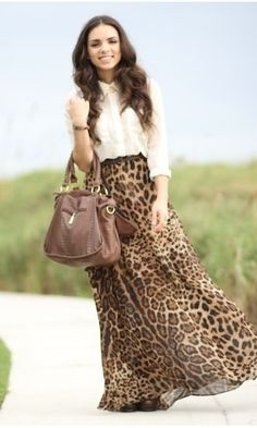 Leopard maxi skirt probably wouldn't wear it but love how it's put together