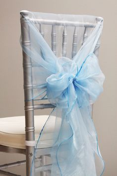 Snow Organza Chair Caps/Hoods - Aqua Blue