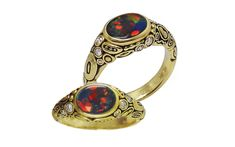 This lovely ring by Alex Sepkus has a ct oval black opal with flashes of red, green, and orange set in sumptuous yellow gold, with 10 accent diamond. Opal Rings, Gemstone Rings, Black Opal Ring, Opal Jewelry, Artist At Work, Black Gold, 18k Gold, Jewels, Diamond