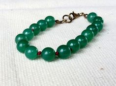 Green Jade Hand Knotted Bracelet Unique Beaded by CITBhandmade