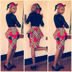 Black and Red Short Ankara Skirt Combinations - DeZango Fashion Zone ~Latest African Fashion, African Prints, African fashion styles, African clothing, Nigerian style, Ghanaian fashion, African women dresses, African Bags, African shoes, Kitenge, Gele, Nigerian fashion, Ankara, Aso okè, Kenté, brocade. ~DK