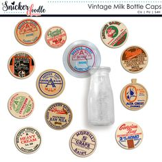 Vintage Milk Bottle Caps by Snickerdoodle Designs by Karen:  Infuse your digital scrapbooking pages, projects, or kits with rustic charm with the use of these authentic vintage milk bottle caps, glass bottle, and glass lid. Commercial or Personal use.